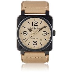 Bell & Ross Men's BR 03 Desert Type Watch ($4,000) ❤ liked on Polyvore featuring men's fashion, men's jewelry, men's watches, black, mens watches, mens leather band watches and mens watches jewelry