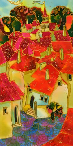 Red Roofs, Prague by Yelena Sidorova, 10″X20″, (Cityscape Series-LTP1205)