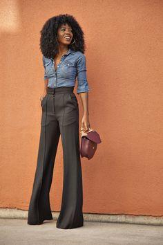 high waist pants & denim shirt