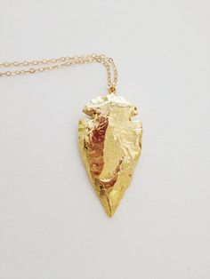 Gold Arrowhead Necklace- 24k Gold Dipped Arrowhead Charm on a 14k Gold Fill Chain by dAnn, #arrowhead, #necklace, #charm, #boho, #jewelry