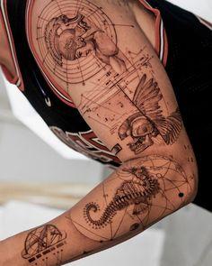 Seahorse Tattoo, Seahorse Art, Tattoo Sleeve Designs, Sleeve Tattoos, Tattoo Designs Men, Left Arm Tattoos, Tattoo Themes, Fine Line Tattoos, Black And Grey Tattoos