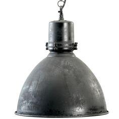 Industriële Zwarte Fabriekslamp. NO-1001. Antiek zwarte afwerking met oude look. Stoere lamp voor boven de eettafel, in de woonkamer. Gratis bezorgd!