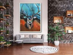 Acrylic painting Deer, Spirituality, Tapestry, Interior, Painting, Design, Home Decor, Hanging Tapestry, Tapestries