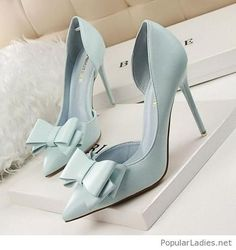 I love this soft blue color on these shoes.