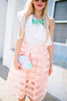 Unique Necklace - #fashion #fashionista #style #fashionblog #blogger #fashionblogger #styletips #howto - Unique necklaces, street style, pink midi skirt, statement necklace