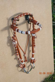 Saddle tan and natural roo hide Gaucho braided bridle