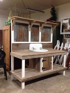 Rustic potting benches - The most awesome Garden bench Drawing Ideas 7476015919 . Rustic potting b Rustic Potting Benches, Potting Bench With Sink, Outdoor Potting Bench, Potting Bench Plans, Reclaimed Wood Benches, Potting Tables, Potting Sheds, Outdoor Benches, Garden Sink