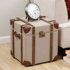 Journey Beige Linen Trunk Side Table | Overstock.com Shopping - Great Deals on Coffee, Sofa & End Tables