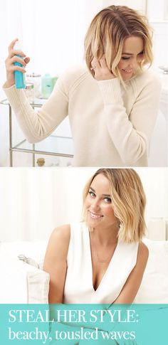 Lauren Conrad, the queen of the beachy wave, shows how she gets her effortlessly undone waves using (JOHN FRIEDA® Beach Blonde™ Sea Waves™ Sea Salt Spray $8.99)