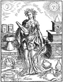 Image of Alchimia, the embodiment of alchemy. Woodcut published by Leonhard Thurneysser in Thurneysser was a student of Paracelsus. Alchemy, Occult Symbols, Woman Illustration, Symbolic Tattoos, Eye Art, Sacred Geometry, Art History, Cool Art, Art Prints