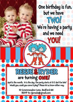 Dr Suess Thing 1 Thing 2 Invitation by KIDINVITES on Etsy, $12.00