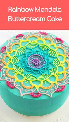Rainbow Mandala Buttercream Cake Mandala drawings are no longer just for paper. We turn an average buttercream cake, into an edible work of art. Pretty Cakes, Beautiful Cakes, Amazing Cakes, Beautiful Cake Designs, Cake Decorating Techniques, Cake Decorating Tips, Cake Icing, Buttercream Cake, Sweets Cake