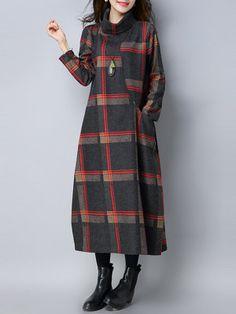 Turtleneck Plaid Pocket Loose Woolen Maxi Dress