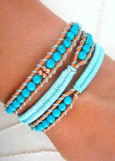 Beaded Leather Wrap Bracelet with Brown Leather, Turquoise Beads, Rose Gold Metal Beads and Macrame