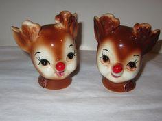 Vintage Lefton Rudolph Reindeer Salt & Pepper Shaker Set