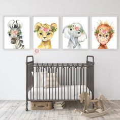 baby girl nursery room ideas 567875834263701410 - 4 Boho Elephant Monkey Wall Art Print Nursery Baby Girl Room Floral Bohemian Zebra Leopard Orangutan Watercolor Set Prints Printable Decor Source by