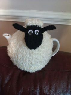 """Hand Knitted Shaun the """"Woolly"""" Sheep Tea Cosy/Cozy Tea Cosy Knitting Pattern, Tea Cosy Pattern, Knitting Patterns Free, Scarf Patterns, Knitting Projects, Crochet Projects, Timmy Time, Knitted Tea Cosies, Crochet Sheep"""