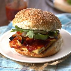 Maple Whiskey BBQ Tofu Sandwiches