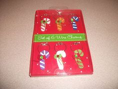 WINE CHARMS - CHRISTMAS - CANDY CANE SHAPED WINE CHARMS. MULTI-COLOR NEW IN BOX