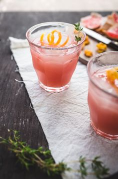 Rhubarb, Grapefruit and Thyme Cocktails - If you're intimidated by cocktails, have no fear: This one's basically just vodka and fruit. But don't get us wrong, it's also totally lovely—rhubarb, grapefruit, and thyme are a power trio of vegetal, citrusy, and herbal flavors. http://www.topwithcinnamon.com/2014/05/rhubarb-grapefruit-and-thyme-cocktails.html