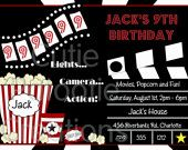Movie Birthday Invitations Movie Night Birthday Party Invitation Printable