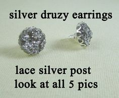 Earrings  12mm Silver Druzy  Lace Silver Post by MaDGreenCreations