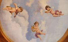 Ceiling medallion by Jeff Raum Studios. Wall Painting Decor, Baby Painting, Music Painting, Rennaissance Art, Baroque Painting, Angel Wallpaper, Oil Painting Pictures, Angel Drawing, Religious Paintings