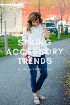 spring accessory trends: layer on some pretty jewelry to this simple outfit for a easy summer style | must have spring accessories | spring fashion | MomTrends.com