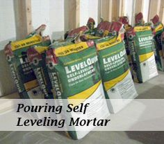 Self leveling mortar when tiling a floor