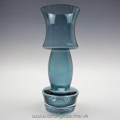 Riihimaki steel blue glass vase