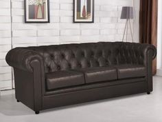 sofá 3 Lugares Suede Chesterfield - Orion