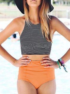 Striped Top With Bikini Swimwear