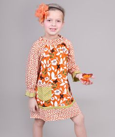 Jelly the Pug is my FAVORITE brand to shop on Zulily. :) Take a look at this Orange & Green Maple Peasant Dress - Toddler & Girls by Jelly the Pug on #zulily today!