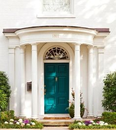 Front door color OBSESSION. This is it. But this does not look like BM Peacock Blue to me....HAVE TO HAVE THIS FRONT DOOR COLOUR