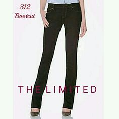 THE LIMITED 312 Bootcut Denim in Black Like New bootcut jeans in black. The Limited's 312 fit has a midrise and is curvy through hip and thigh. Back pocket details. 2nd photo is most true to color.  *Cover photo from thelimited.com* The Limited Jeans Boot Cut