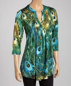 Another great find on #zulily! Turquoise Peacock Button-Up Tunic - Women by La Cera #zulilyfinds