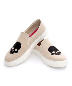 Another great find on #zulily! Cream Skull Slip-On Sneaker #zulilyfinds