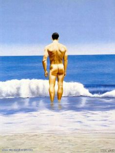 Steve Walker - Facing the Surf Male Body Art, Canadian Painters, Walker Art, Devon And Cornwall, Gay Art, Figure Painting, Waves, Nude, Actors