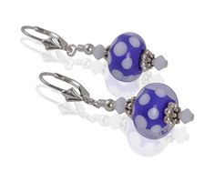 Lovely one-of-a-kind handmade blue Lampwork bead earrings created with white Swarovski Austrian crystals, Bali .925 silver, blue polka dot Lampwork glass beads & sterling silver leverback?ÕÌ_earwires.