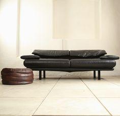 Paolo Piva; Leather and Painted Metal 'Alanda' Sofa for B & B Italia, c1980.
