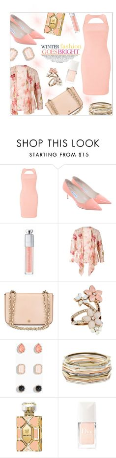 """Bright Style in Apricot"" by jckallan ❤ liked on Polyvore featuring Miss Selfridge, Jimmy Choo, Christian Dior, Chesca, Tory Burch, Accessorize, Torrid, Kendra Scott, Wildfox and Celestine"