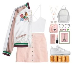 """Bomber Pastel"" by donut-care ❤ liked on Polyvore featuring MANGO, NIKE, New Look, Fujifilm, Michael Kors, Linda Farrow, MAC Cosmetics, Sirocco, Vintage Print Gallery and pastel"