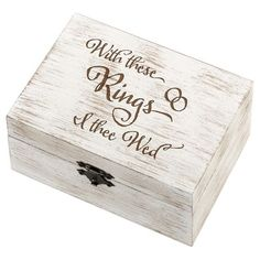 Rustic White Wedding Ring and Vow Box - I Thee Wed, Light Cream