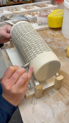 forestceramicco on Instagram: It worked 🥳 I made this tool to hold and rotate my column vases while carving and it's a game changer! This one just cut my chiropractor's… Ceramic Supplies, Ceramic Techniques, Game Changer, Wall Sculptures, Vases, Porcelain, Carving, Clay, Tools
