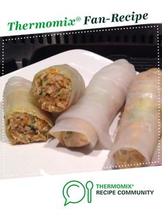 Recipe Chicken Noodle Rice Paper Rolls by learn to make this recipe easily in your kitchen machine and discover other Thermomix recipes in Starters. Chicken Rice Paper Rolls, Rice Paper Wrappers, Recipe Community, Rice Noodles, Food N, Main Meals, Starters, Chicken Recipes, Oriental