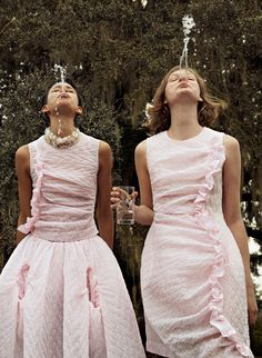 """stopdropandvogue: """"Janiece Dilone and Marland Backus in """"Heavenly Creatures"""" for Porter Spring 2016 photographed by Cass Bird """""""