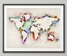 Map of the World Map Abstract Painting Art Print 18x24 by artPause, £14.99