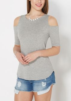image of Gray Crepe Cold Shoulder Top (comes in a lot of colors)