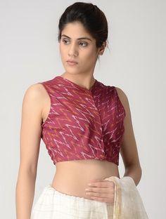 Pink-Ivory Front-open Cotton Ikat Blouse by Jaypore Kerala Saree Blouse Designs, Cotton Saree Blouse Designs, Fancy Blouse Designs, Kurta Neck Design, Stylish Blouse Design, Designer Blouse Patterns, Blouse Styles, Sarees, Ikat