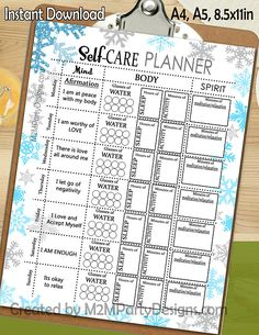 Self Care Planner Holistic Wellness Printable Wellness Printable Printable Self Care Journal Letter Size, Winter Snowflakes Blog Planner, To Do Planner, Passion Planner, Planner Layout, Journal Layout, Planner Pages, Happy Planner, Planner Ideas, Project Life Planner